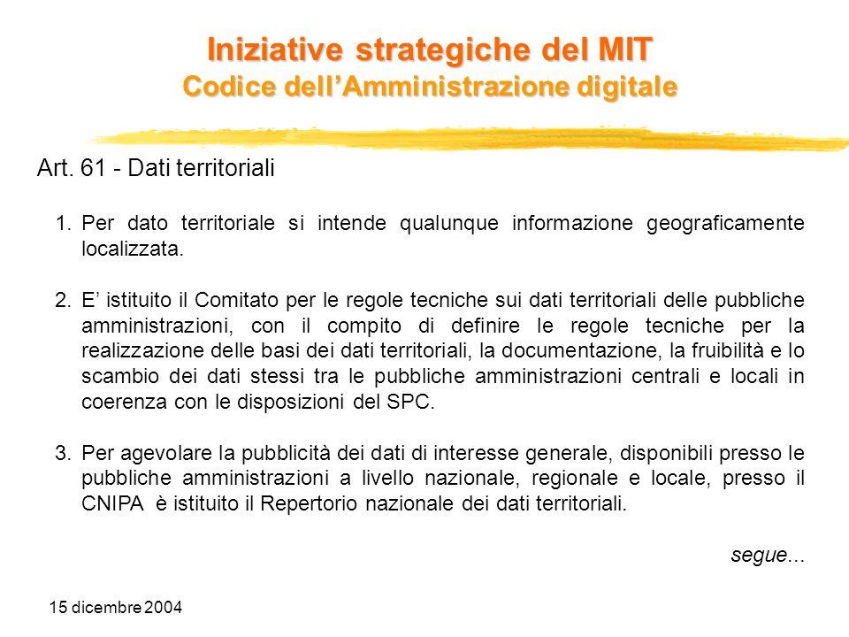 15 dicembre 2004 Art. 61 - Dati territoriali 1.Per dato territoriale si intende qualunque informazione geograficamente localizzata. 2.E istituito il C