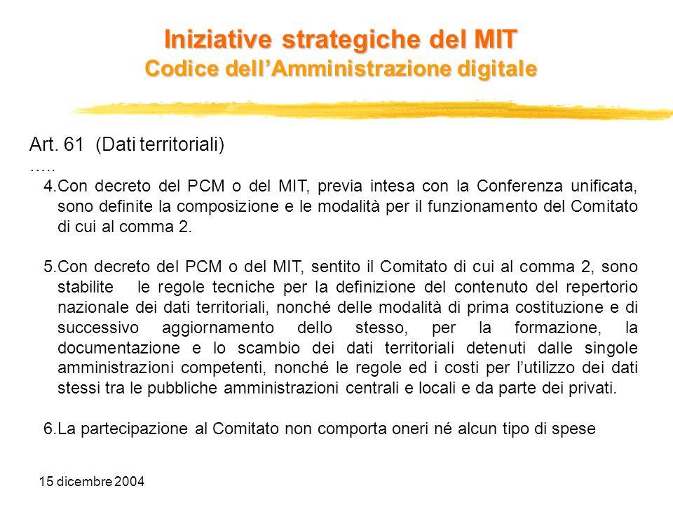 15 dicembre 2004 Art. 61 (Dati territoriali) ….. 4.Con decreto del PCM o del MIT, previa intesa con la Conferenza unificata, sono definite la composiz