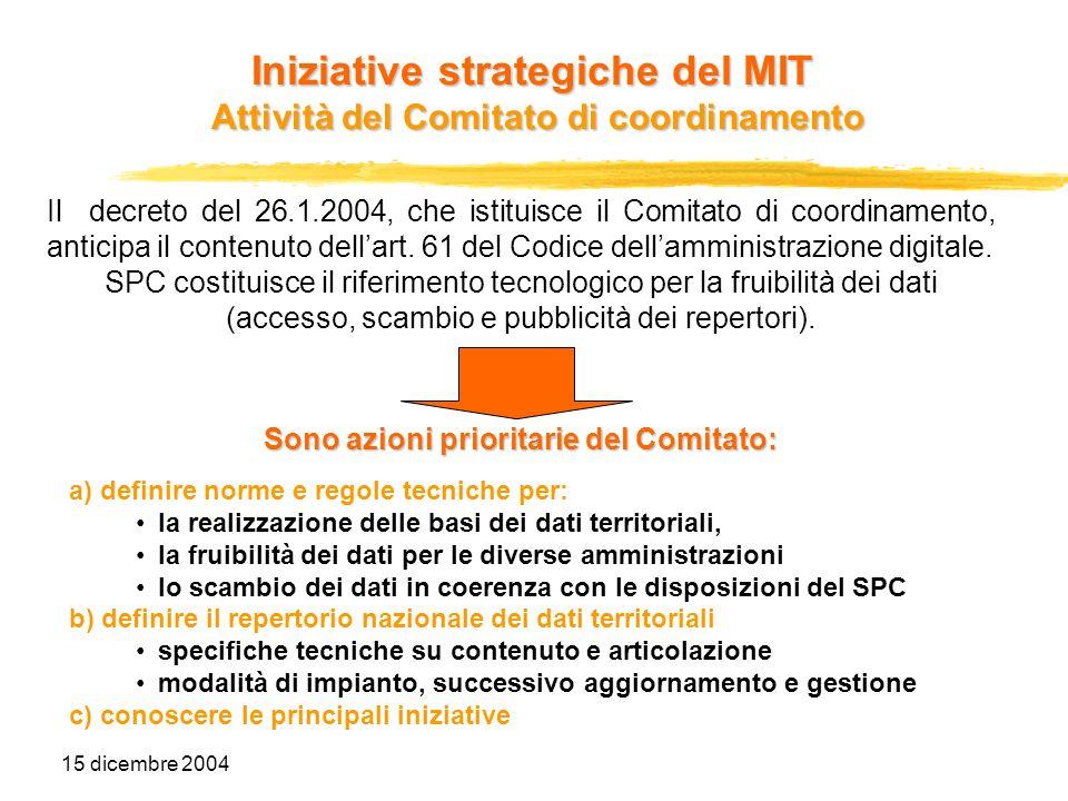15 dicembre 2004 Il decreto del 26.1.2004, che istituisce il Comitato di coordinamento, anticipa il contenuto dellart. 61 del Codice dellamministrazio