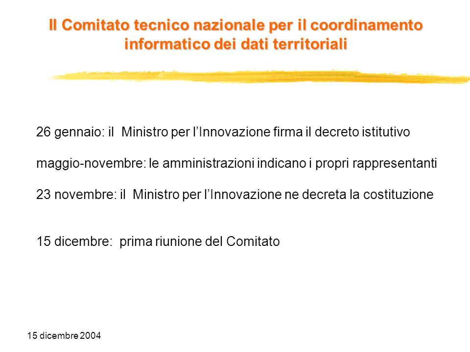 15 dicembre 2004 26 gennaio: il Ministro per lInnovazione firma il decreto istitutivo maggio-novembre: le amministrazioni indicano i propri rappresent