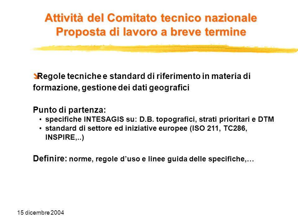 15 dicembre 2004 Regole tecniche e standard di riferimento in materia di formazione, gestione dei dati geografici Punto di partenza: specifiche INTESA