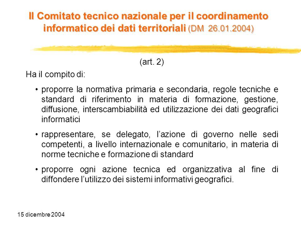 15 dicembre 2004 (art. 2) Ha il compito di: proporre la normativa primaria e secondaria, regole tecniche e standard di riferimento in materia di forma