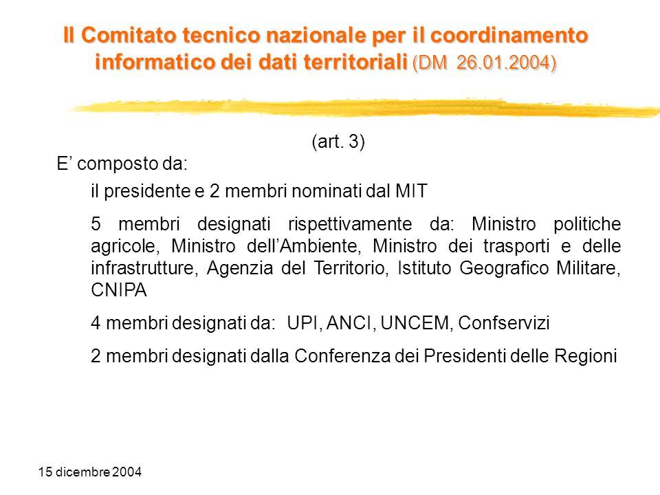 15 dicembre 2004 Segreteria tecnica e supporto al comitato (art.