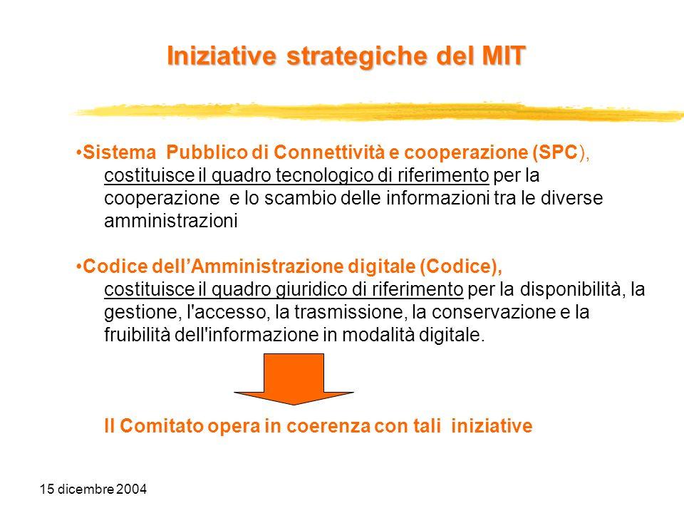15 dicembre 2004 Iniziative strategiche del MIT Sistema Pubblico di Connettività e cooperazione Il collegamento delle PAC e delle PAL a livello di trasporto, di interoperabilità e di cooperazione applicativa è definito nellambito del nuovo Sistema Pubblico di Connettività e cooperazione (SPC).