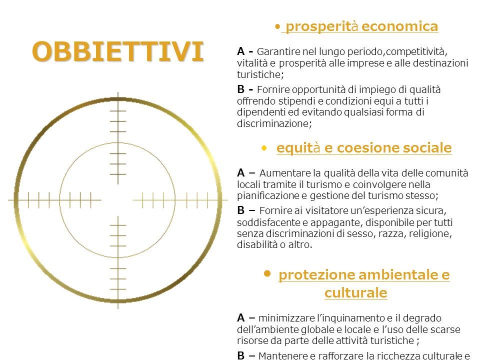 prosperità economica A - Garantire nel lungo periodo,competitività, vitalità e prosperità alle imprese e alle destinazioni turistiche; B - Fornire opp