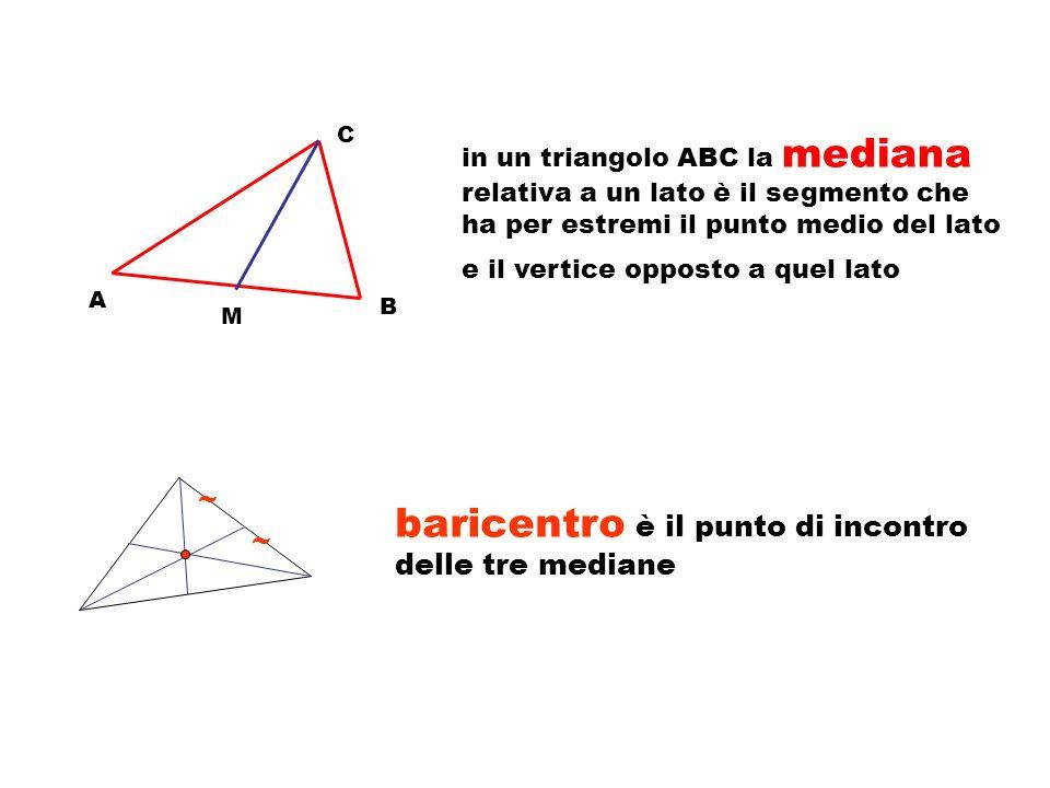 A C B In un triangolo ABC la bisettrice relativa al vertice A è il segmento costituito dai punti della bisettrice dellangolo in A che sono anche punti