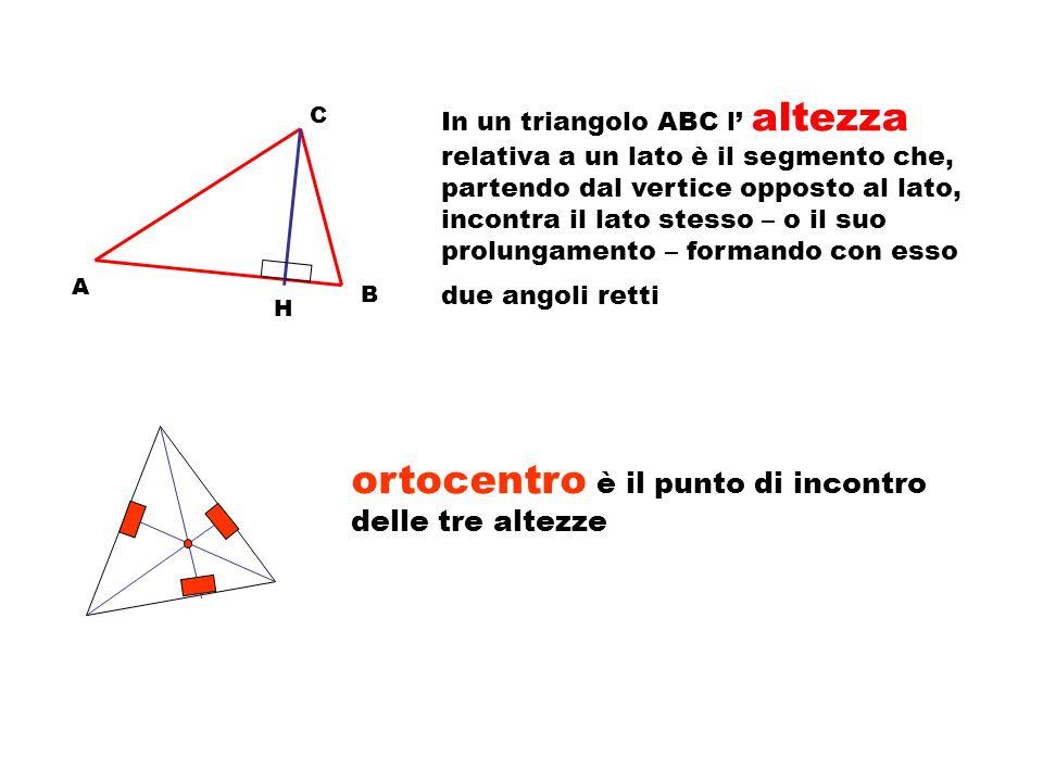 A C B in un triangolo ABC la mediana relativa a un lato è il segmento che ha per estremi il punto medio del lato e il vertice opposto a quel lato M ~