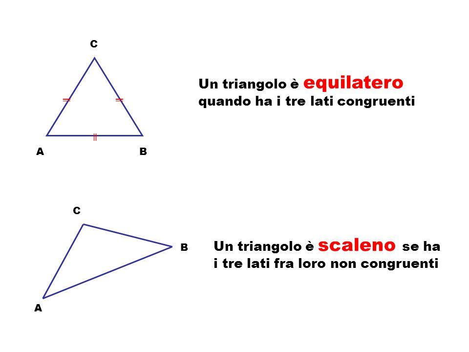A C B In un triangolo ABC l altezza relativa a un lato è il segmento che, partendo dal vertice opposto al lato, incontra il lato stesso – o il suo pro