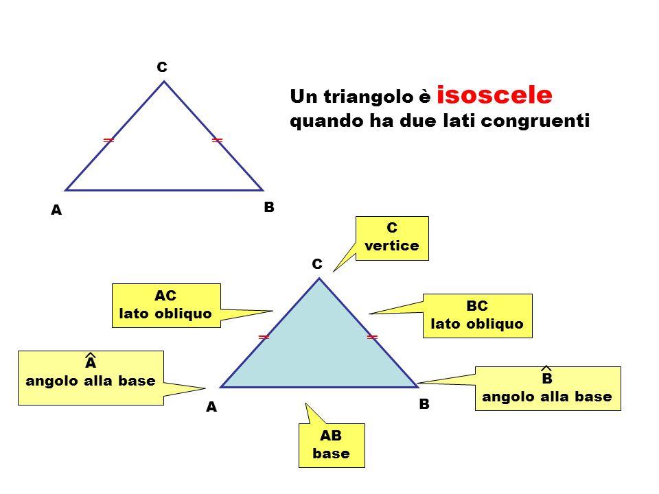 A C B Un triangolo è equilatero quando ha i tre lati congruenti C B A Un triangolo è scaleno se ha i tre lati fra loro non congruenti