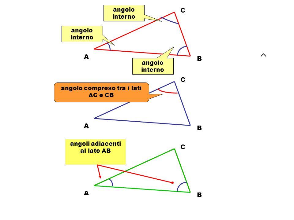 A C B A C B Definizioni vertice Vertice opposto al lato AB