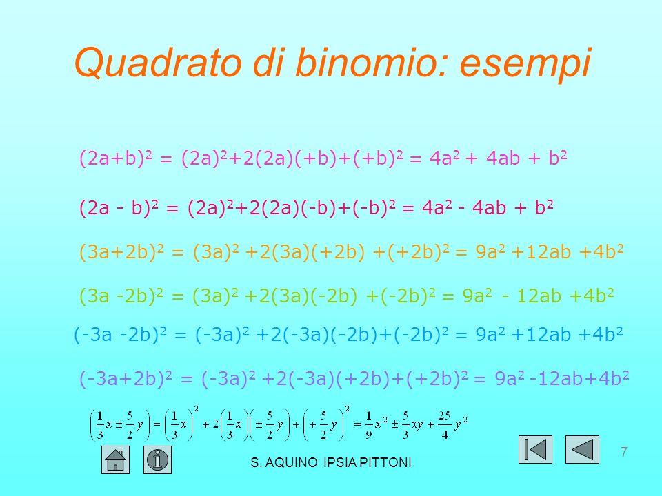 7 Quadrato di binomio: esempi (2a+b) 2 = (2a) 2 +2(2a)(+b)+(+b) 2 = 4a 2 + 4ab + b 2 (2a - b) 2 = (2a) 2 +2(2a)(-b)+(-b) 2 = 4a 2 - 4ab + b 2 (3a+2b) 2 = (3a) 2 +2(3a)(+2b) +(+2b) 2 = 9a 2 +12ab +4b 2 (3a -2b) 2 = (3a) 2 +2(3a)(-2b) +(-2b) 2 = 9a 2 - 12ab +4b 2 (-3a -2b) 2 = (-3a) 2 +2(-3a)(-2b)+(-2b) 2 = 9a 2 +12ab +4b 2 (-3a+2b) 2 = (-3a) 2 +2(-3a)(+2b)+(+2b) 2 = 9a 2 -12ab+4b 2 S.