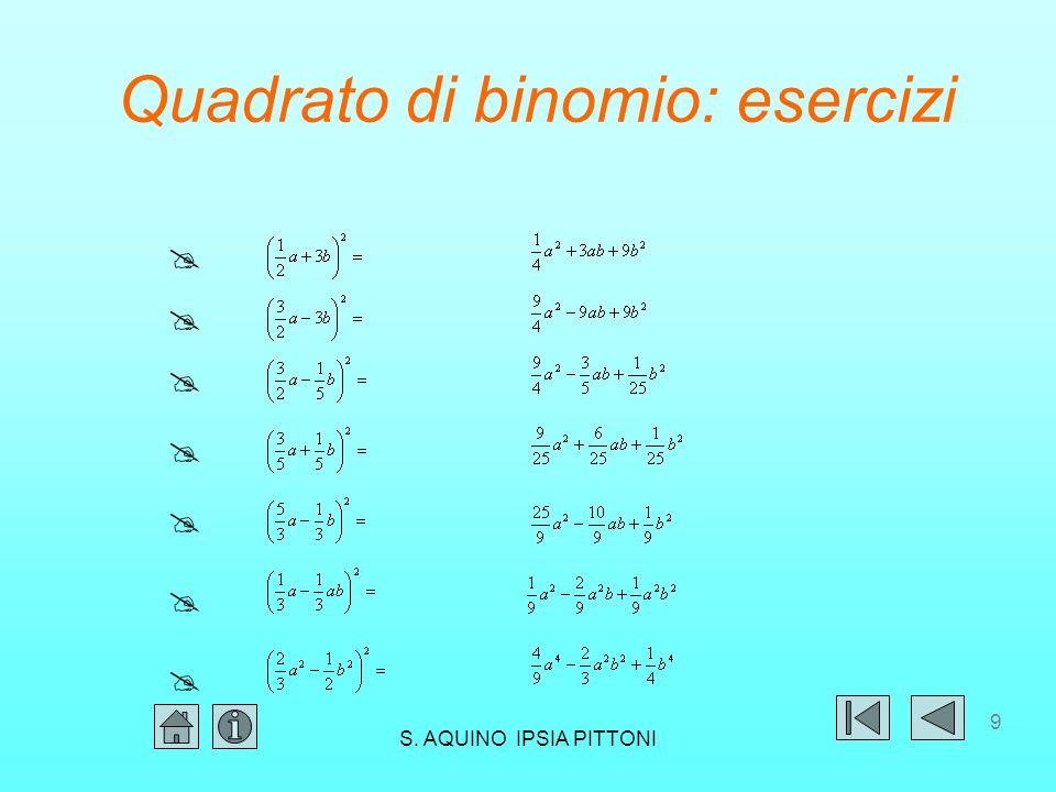 19 Quadrato di polinomio: la regola (a+b+c) 2 = a 2 +b 2 +c 2 +2ab+2ac+2bc Il quadrato di un polinomio di un numero qualsiasi di termini è un polinomio avente per termini: il quadrato di tutti i termini il doppio prodotto (con il relativo segno) di ciascun termine per tutti quelli che lo seguono S.