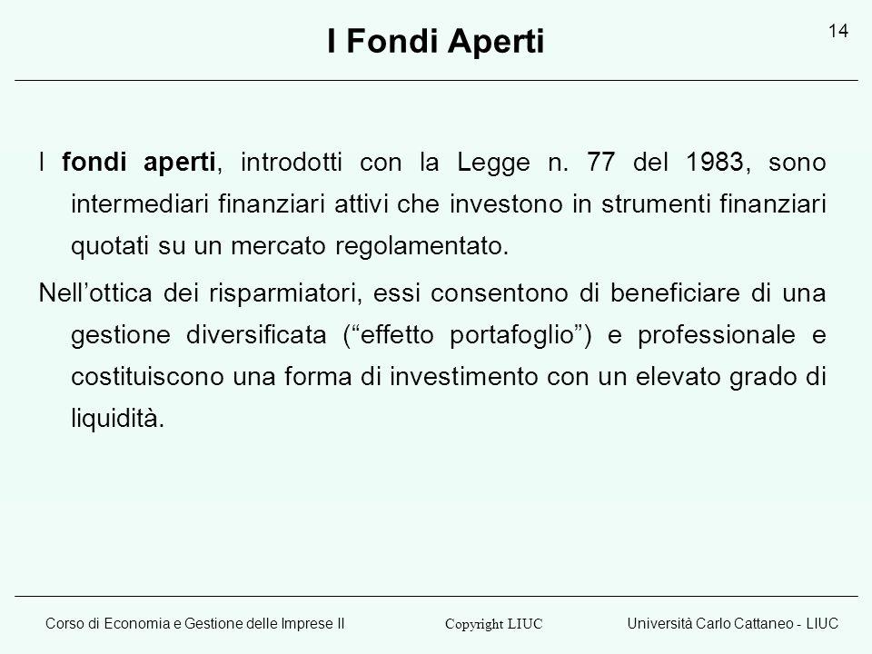 Corso di Economia e Gestione delle Imprese IIUniversità Carlo Cattaneo - LIUC Copyright LIUC 14 I Fondi Aperti I fondi aperti, introdotti con la Legge n.