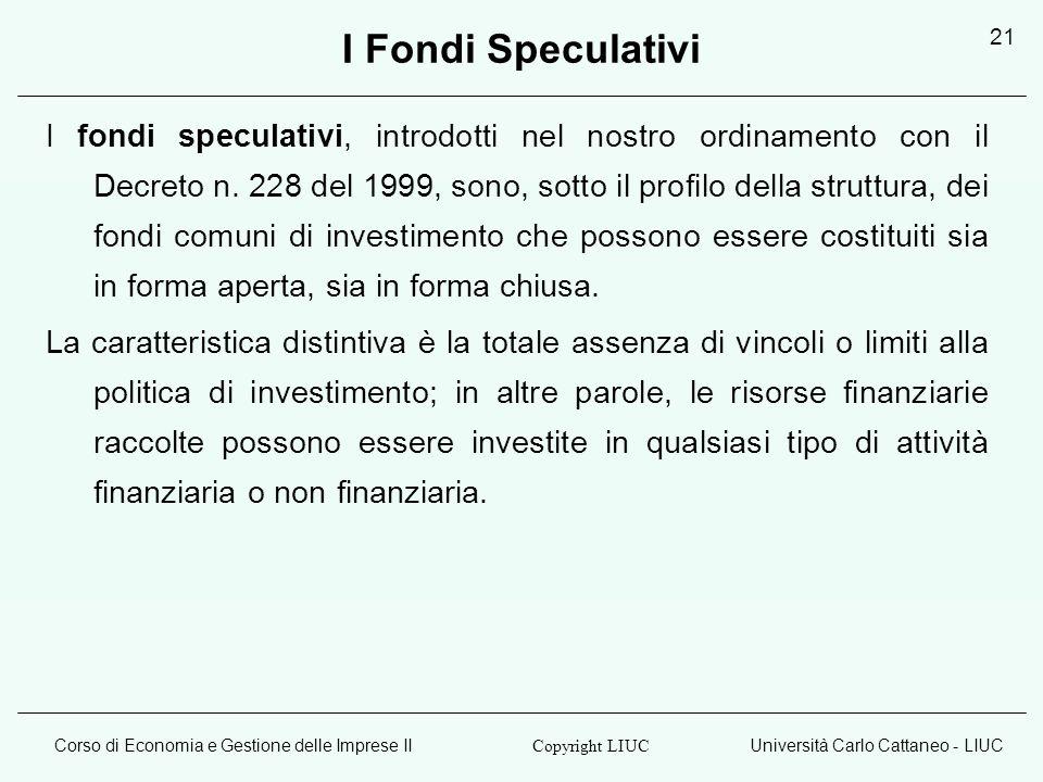 Corso di Economia e Gestione delle Imprese IIUniversità Carlo Cattaneo - LIUC Copyright LIUC 21 I Fondi Speculativi I fondi speculativi, introdotti ne
