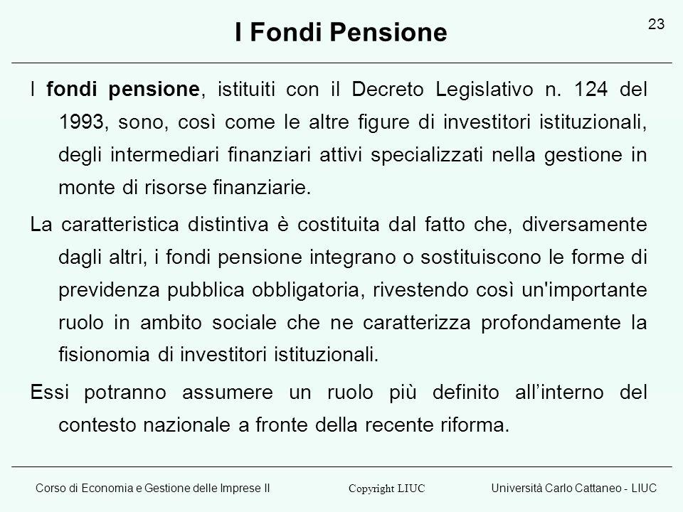 Corso di Economia e Gestione delle Imprese IIUniversità Carlo Cattaneo - LIUC Copyright LIUC 23 I Fondi Pensione I fondi pensione, istituiti con il De