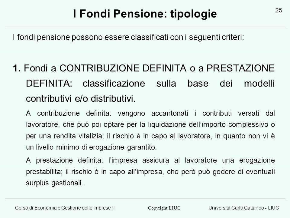 Corso di Economia e Gestione delle Imprese IIUniversità Carlo Cattaneo - LIUC Copyright LIUC 25 I Fondi Pensione: tipologie I fondi pensione possono essere classificati con i seguenti criteri: 1.