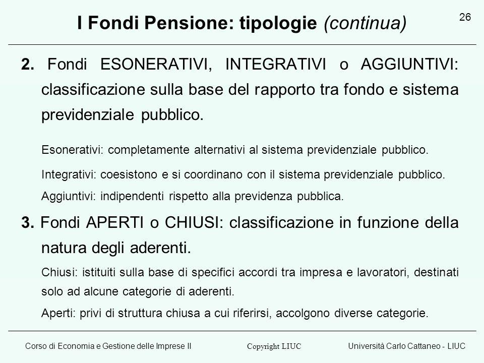 Corso di Economia e Gestione delle Imprese IIUniversità Carlo Cattaneo - LIUC Copyright LIUC 26 I Fondi Pensione: tipologie (continua) 2. Fondi ESONER