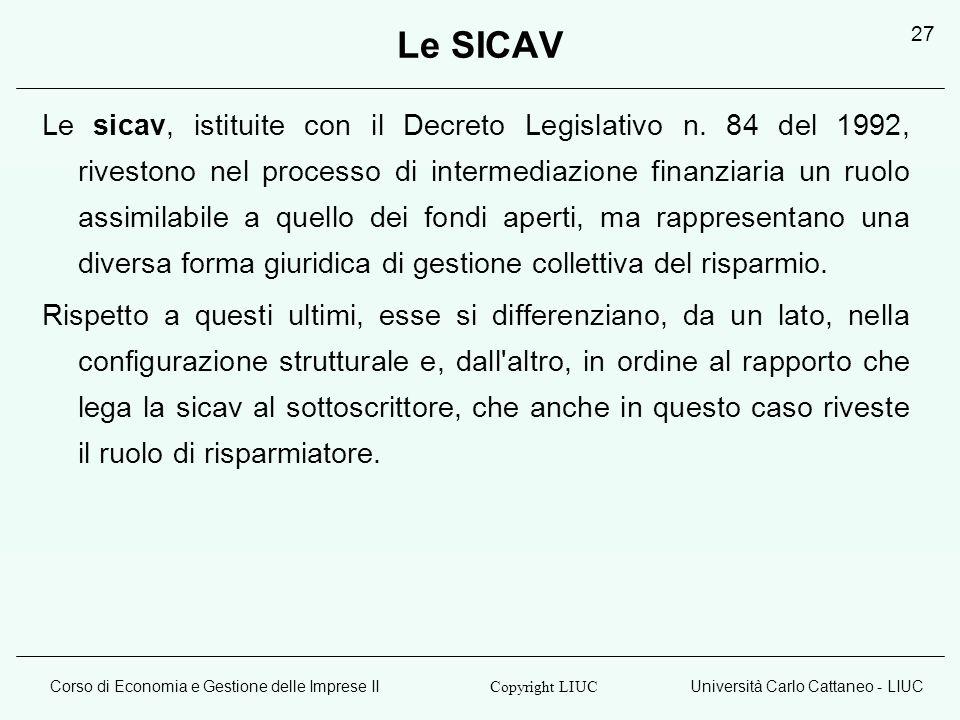 Corso di Economia e Gestione delle Imprese IIUniversità Carlo Cattaneo - LIUC Copyright LIUC 27 Le SICAV Le sicav, istituite con il Decreto Legislativ