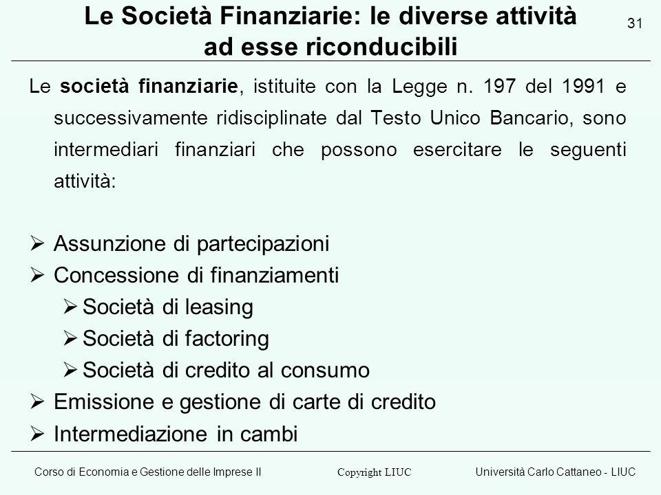 Corso di Economia e Gestione delle Imprese IIUniversità Carlo Cattaneo - LIUC Copyright LIUC 31 Le Società Finanziarie: le diverse attività ad esse ri