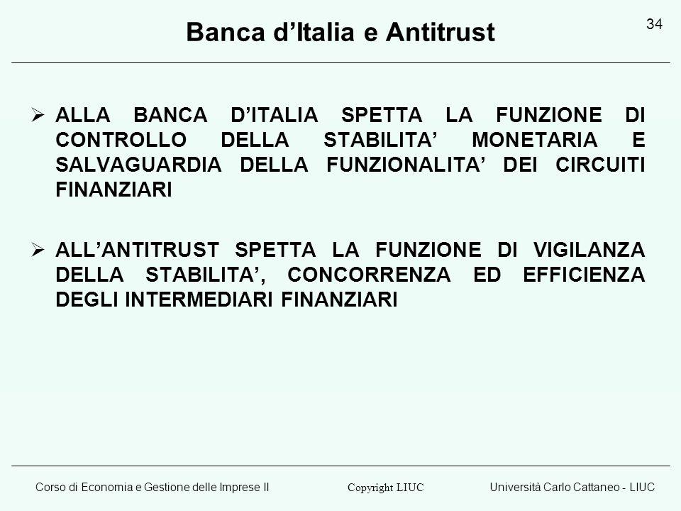 Corso di Economia e Gestione delle Imprese IIUniversità Carlo Cattaneo - LIUC Copyright LIUC 34 Banca dItalia e Antitrust ALLA BANCA DITALIA SPETTA LA