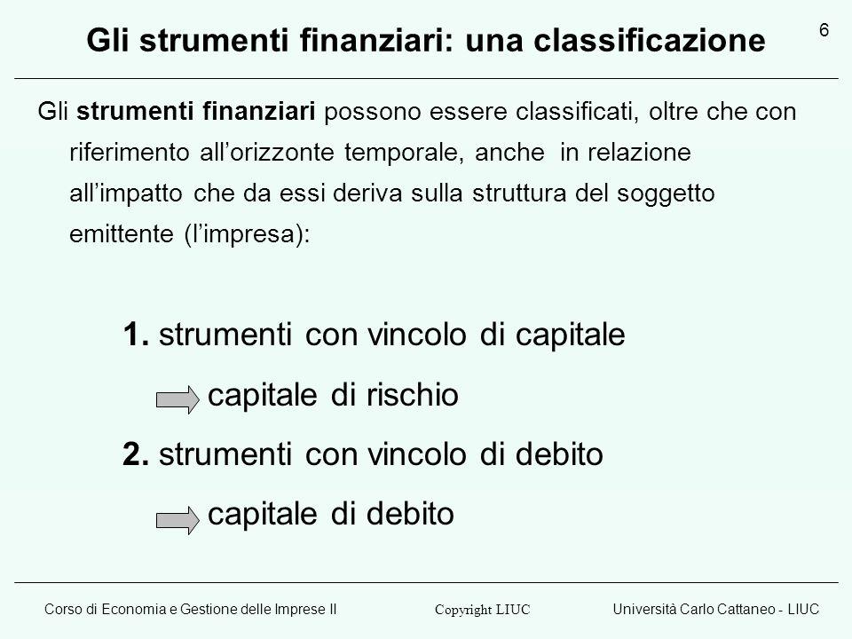 Corso di Economia e Gestione delle Imprese IIUniversità Carlo Cattaneo - LIUC Copyright LIUC 6 Gli strumenti finanziari: una classificazione Gli strum