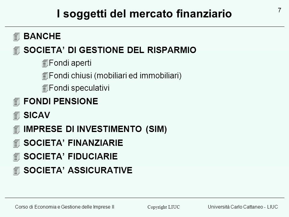 Corso di Economia e Gestione delle Imprese IIUniversità Carlo Cattaneo - LIUC Copyright LIUC 7 I soggetti del mercato finanziario BANCHE SOCIETA DI GESTIONE DEL RISPARMIO Fondi aperti Fondi chiusi (mobiliari ed immobiliari) Fondi speculativi FONDI PENSIONE SICAV IMPRESE DI INVESTIMENTO (SIM) SOCIETA FINANZIARIE SOCIETA FIDUCIARIE SOCIETA ASSICURATIVE