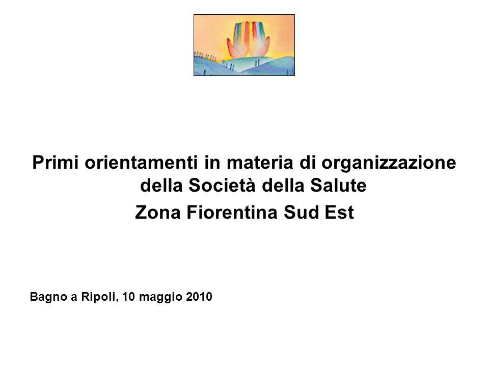 Primi orientamenti in materia di organizzazione della Società della Salute Zona Fiorentina Sud Est Bagno a Ripoli, 10 maggio 2010