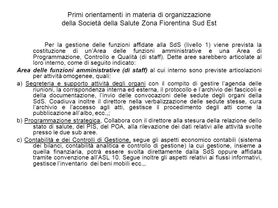 Primi orientamenti in materia di organizzazione della Società della Salute Zona Fiorentina Sud Est Per la gestione delle funzioni affidate alla SdS (livello 1) viene prevista la costituzione di unArea delle funzioni amministrative e una Area di Programmazione, Controllo e Qualità (di staff).