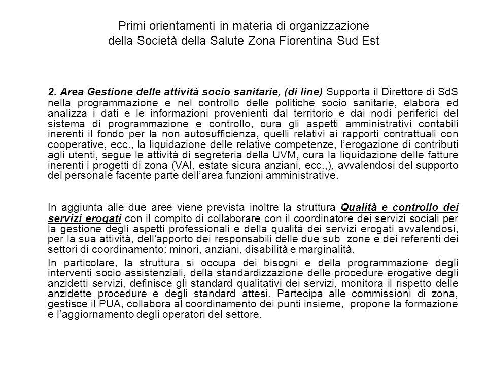 Primi orientamenti in materia di organizzazione della Società della Salute Zona Fiorentina Sud Est 2.