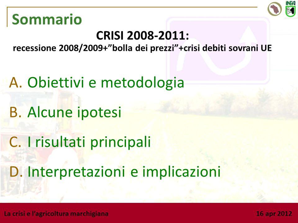 La crisi e lagricoltura marchigiana 16 apr 2012 Sommario A. Obiettivi e metodologia B. Alcune ipotesi C. I risultati principali D. Interpretazioni e i