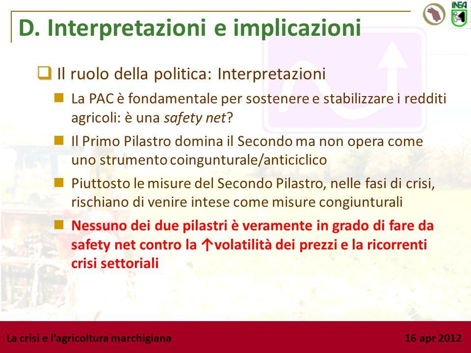 Il ruolo della politica: Interpretazioni La PAC è fondamentale per sostenere e stabilizzare i redditi agricoli: è una safety net? Il Primo Pilastro do