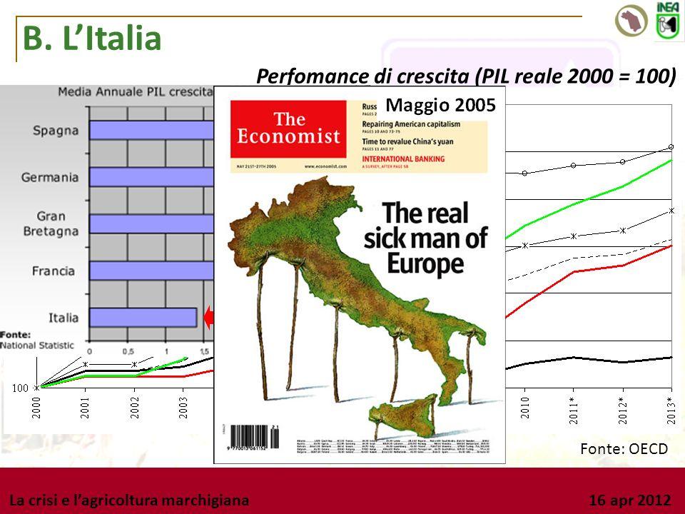 La crisi e lagricoltura marchigiana 16 apr 2012 B. LItalia Perfomance di crescita (PIL reale 2000 = 100) Fonte: OECD