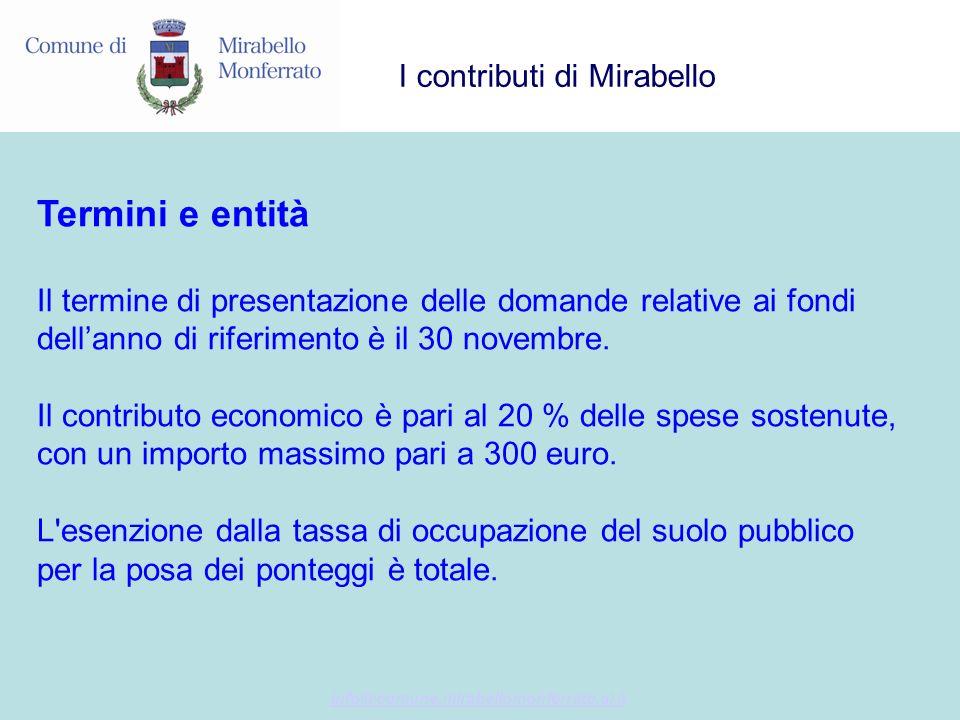 info@comune.mirabellomonferrato.al.it I contributi di Mirabello Termini e entità Il termine di presentazione delle domande relative ai fondi dellanno di riferimento è il 30 novembre.