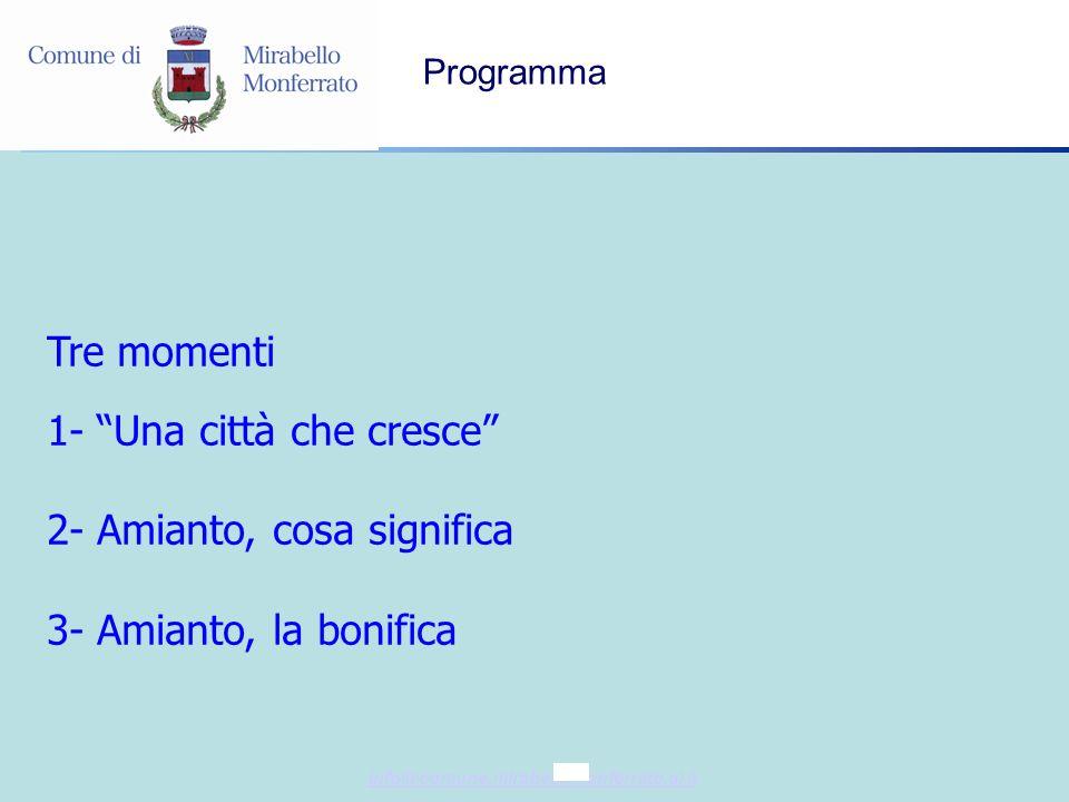info@comune.mirabellomonferrato.al.it Programma Tre momenti 1- Una città che cresce 2- Amianto, cosa significa 3- Amianto, la bonifica