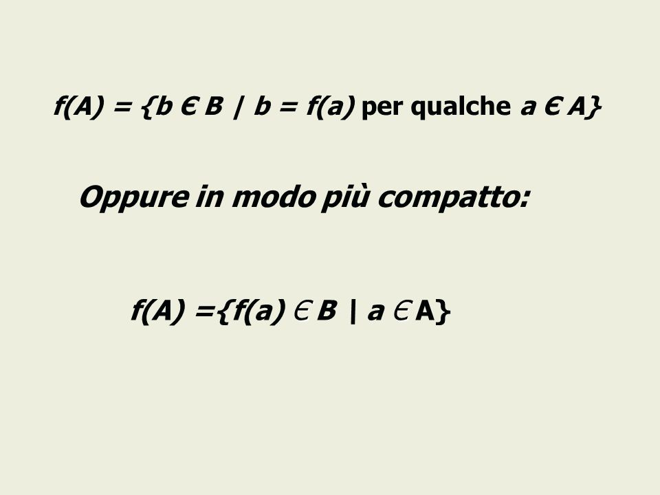 f(A) = {b Є B | b = f(a) per qualche a Є A} Oppure in modo più compatto: ЄЄ f(A) ={f(a) Є B \ a Є A}