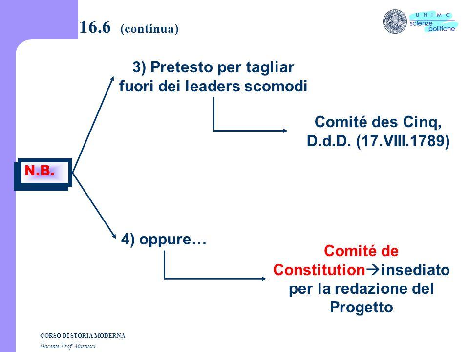 CORSO DI STORIA MODERNA Docente Prof. Martucci 16.6 (segue) N.B. 1) La storia dei Comitati ha 3 fonti b) Notice di A.G. Camus 2) A volte sono imposti