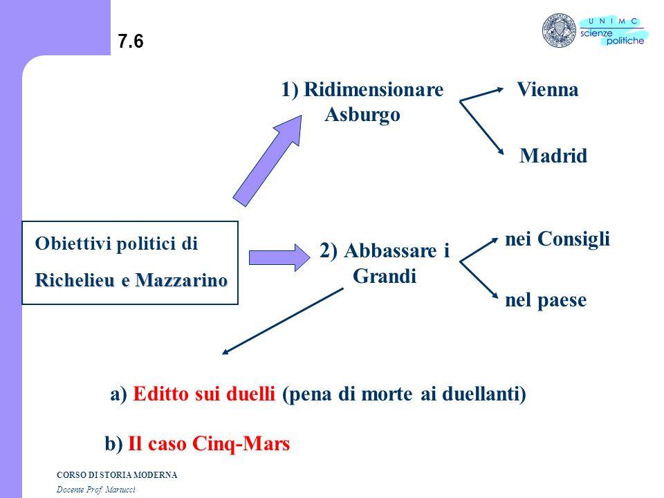CORSO DI STORIA MODERNA Docente Prof. Martucci 7.5 C) Principal Ministro a) Ha la fiducia del Re b) Siede in tutti i Consigli c) Abbassa (riduce) la p
