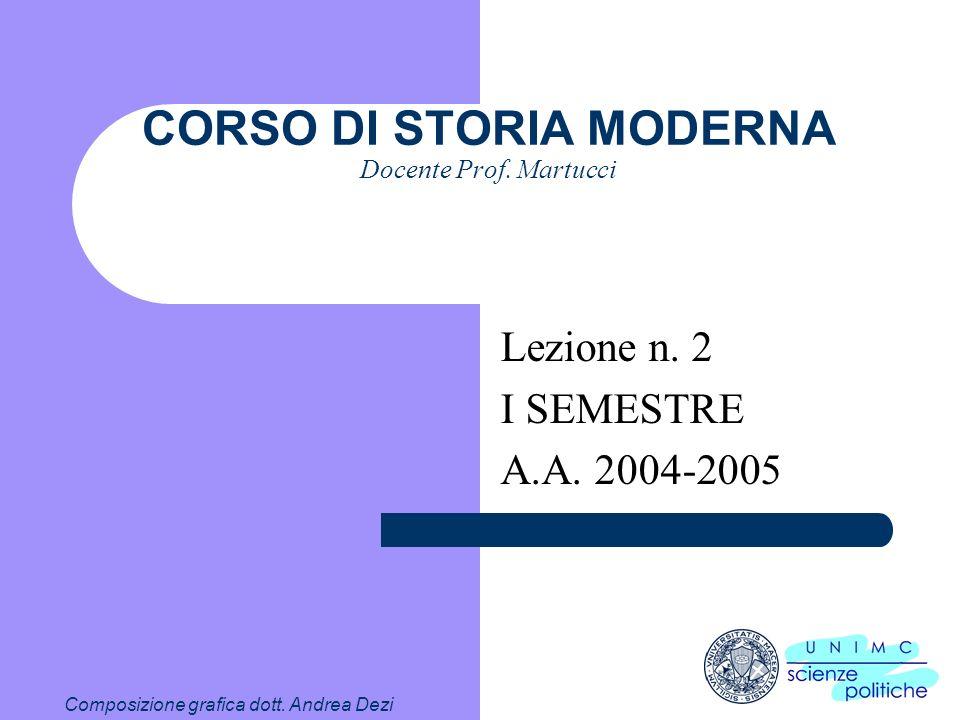 Composizione grafica dott.Andrea Dezi CORSO DI STORIA MODERNA Docente Prof.
