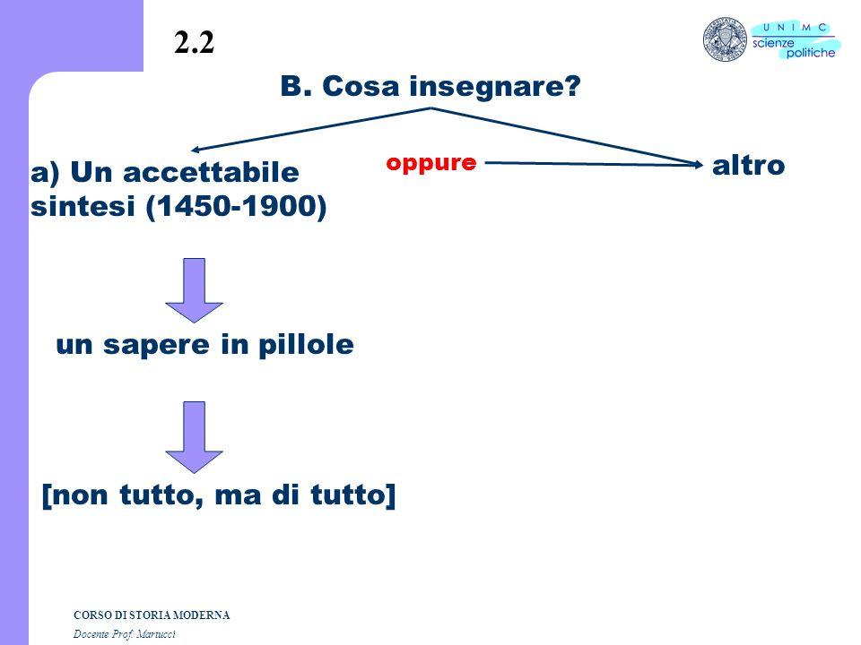 CORSO DI STORIA MODERNA Docente Prof.Martucci B. Cosa insegnare.