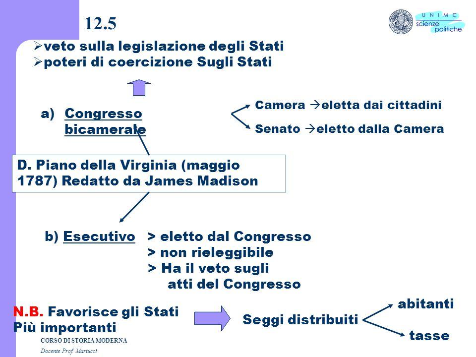 CORSO DI STORIA MODERNA Docente Prof. Martucci 12.4 C. procedura a)Progetto il Congresso lo discute a porte chiuse b) Ratifica le Assemblee degli Stat