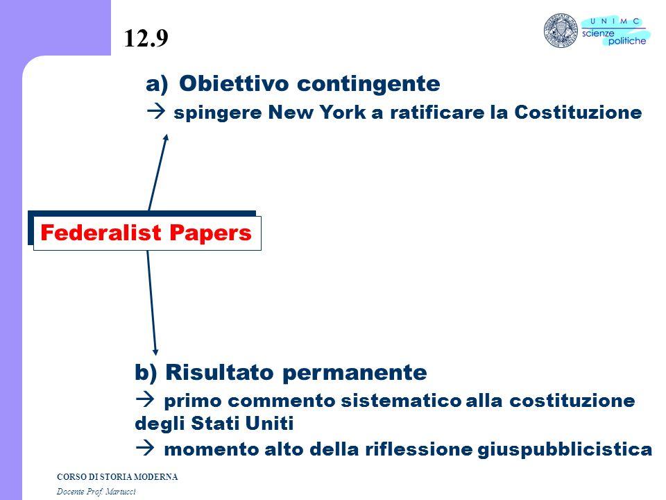 CORSO DI STORIA MODERNA Docente Prof. Martucci 12.8 F. ratifica a) Convenzioni statali > elette ad hoc b) Voto di 9 Stati ottenuta nel luglio 1788 New