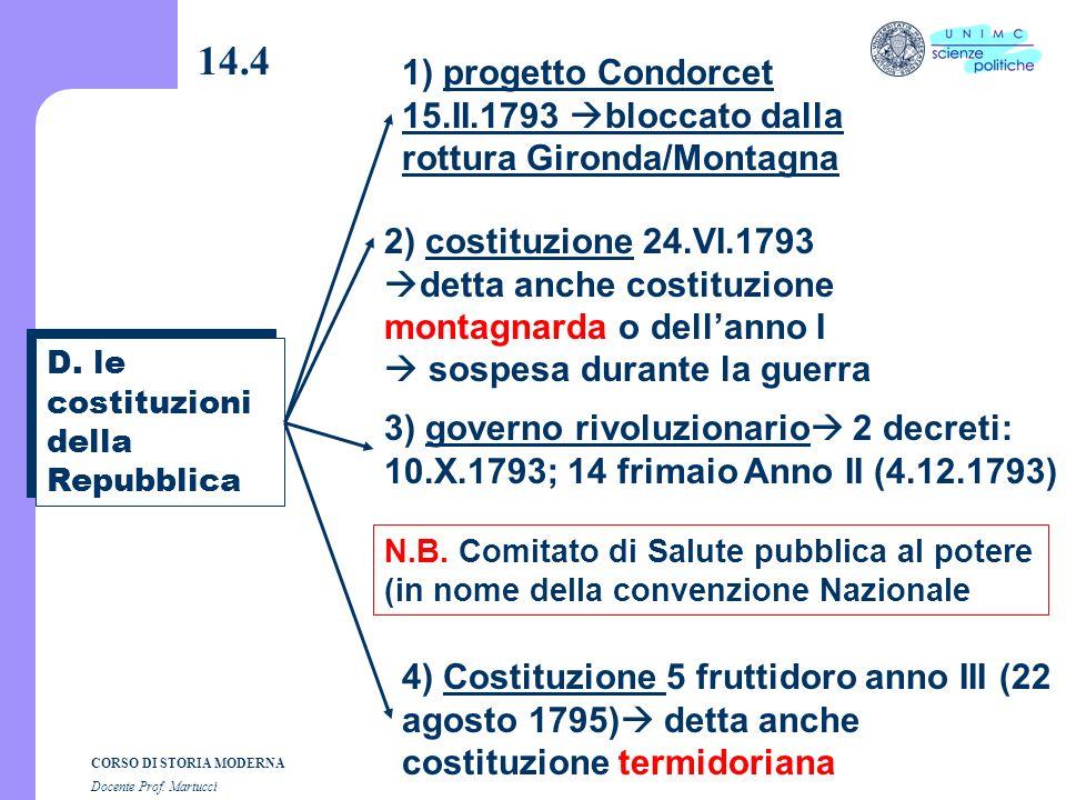 CORSO DI STORIA MODERNA Docente Prof. Martucci 14.3 a) Processo al Re (gennaio 1793) morte? carcere? b) Resa dei conti Montagna/Gironda (31maggio / 2