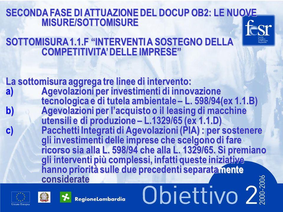 SECONDA FASE DI ATTUAZIONE DEL DOCUP OB2: LE NUOVE MISURE/SOTTOMISURE SOTTOMISURA 1.1.F INTERVENTI A SOSTEGNO DELLA COMPETITIVITA DELLE IMPRESE La sottomisura aggrega tre linee di intervento: a)Agevolazioni per investimenti di innovazione tecnologica e di tutela ambientale – L.