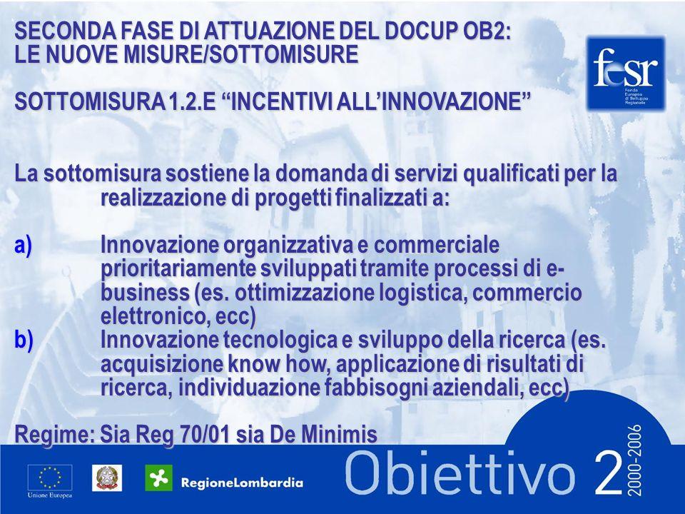 SECONDA FASE DI ATTUAZIONE DEL DOCUP OB2: LE NUOVE MISURE/SOTTOMISURE SOTTOMISURA 1.2.E INCENTIVI ALLINNOVAZIONE La sottomisura sostiene la domanda di servizi qualificati per la realizzazione di progetti finalizzati a: a)Innovazione organizzativa e commerciale prioritariamente sviluppati tramite processi di e- business (es.