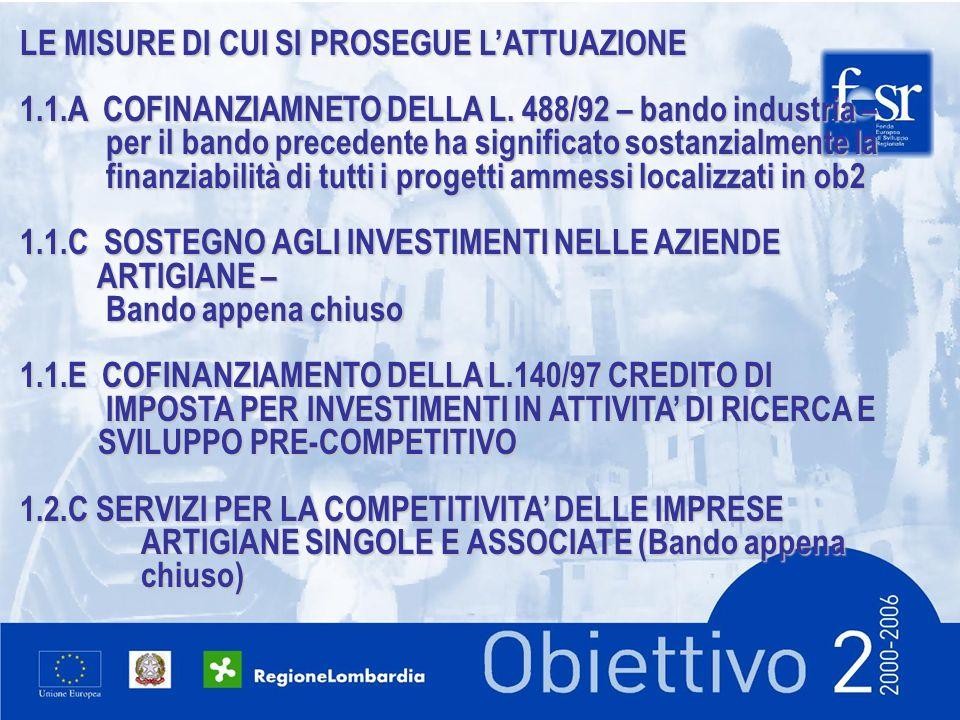 LE MISURE DI CUI SI PROSEGUE LATTUAZIONE 1.1.A COFINANZIAMNETO DELLA L.