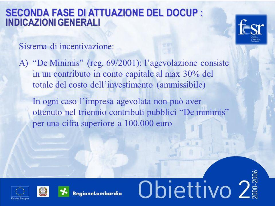 SECONDA FASE DI ATTUAZIONE DEL DOCUP : INDICAZIONI GENERALI Sistema di incentivazione: A)De Minimis (reg.