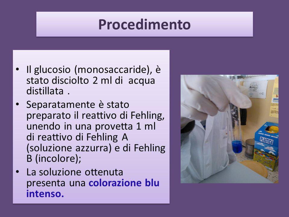 Procedimento Il glucosio (monosaccaride), è stato disciolto 2 ml di acqua distillata. Separatamente è stato preparato il reattivo di Fehling, unendo i