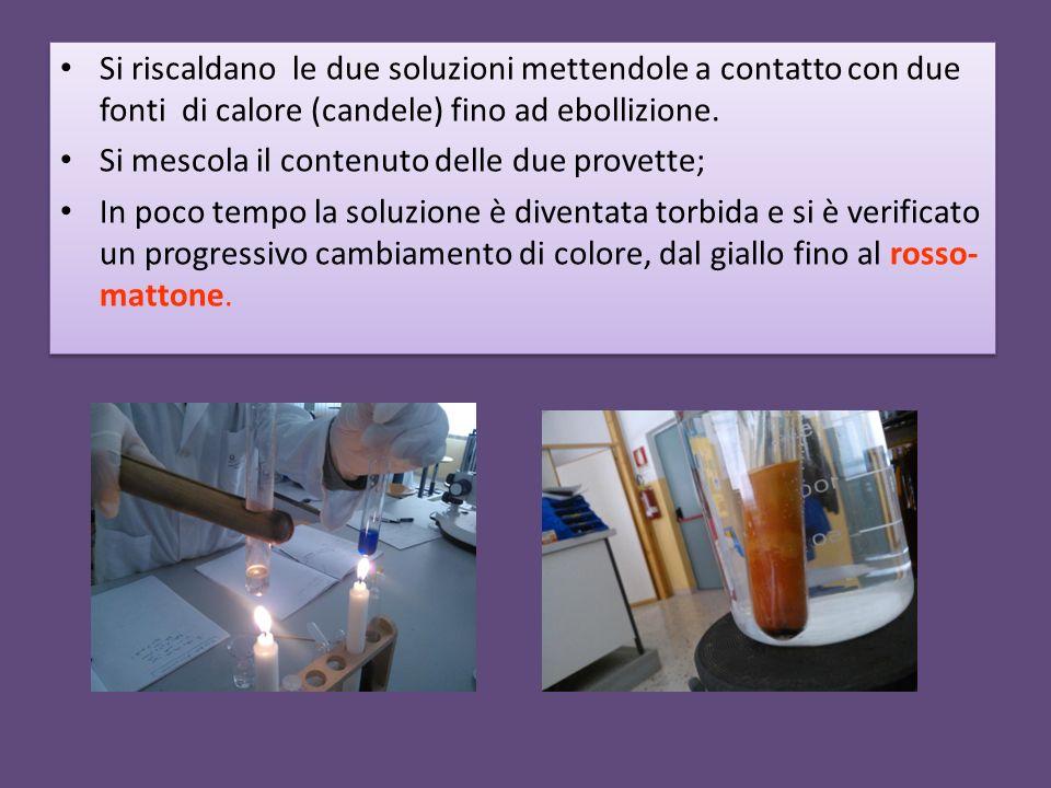 Si riscaldano le due soluzioni mettendole a contatto con due fonti di calore (candele) fino ad ebollizione. Si mescola il contenuto delle due provette