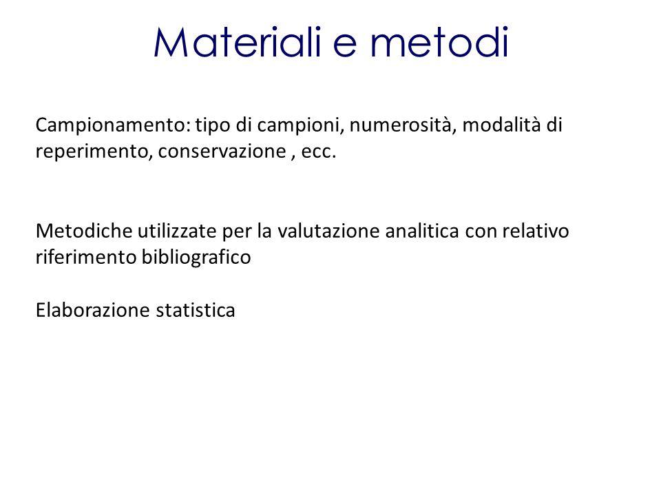 Materiali e metodi Campionamento: tipo di campioni, numerosità, modalità di reperimento, conservazione, ecc. Metodiche utilizzate per la valutazione a