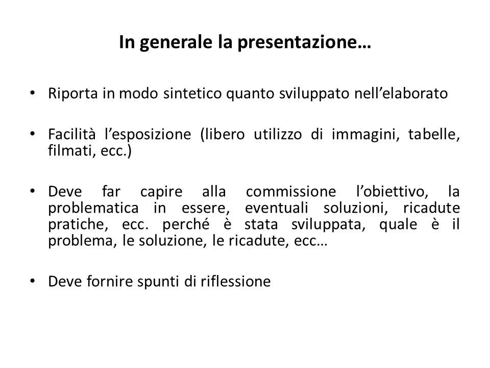 In generale la presentazione… Riporta in modo sintetico quanto sviluppato nellelaborato Facilità lesposizione (libero utilizzo di immagini, tabelle, f